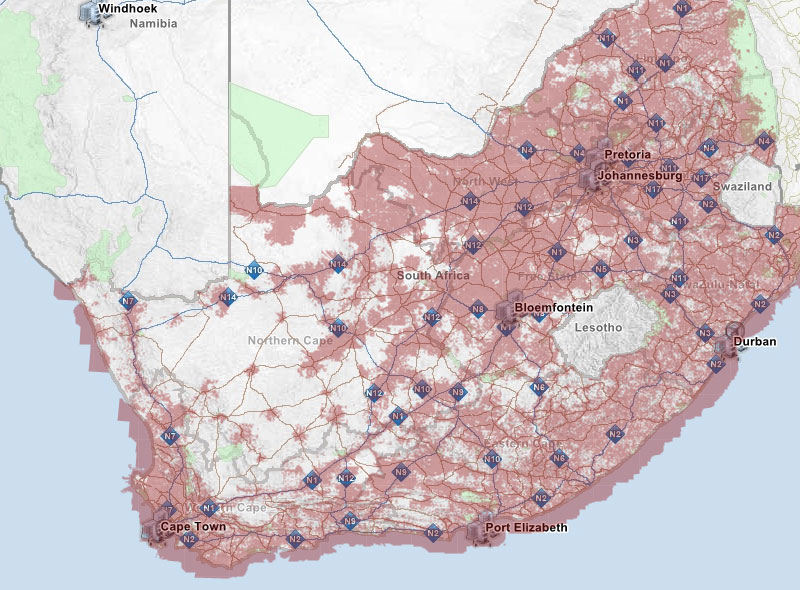 Coverage map for South Africa